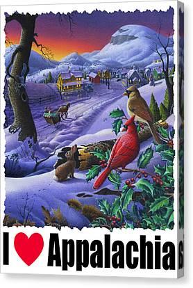 I Love Appalachia - Small Town Winter Landscape - Cardinals Canvas Print