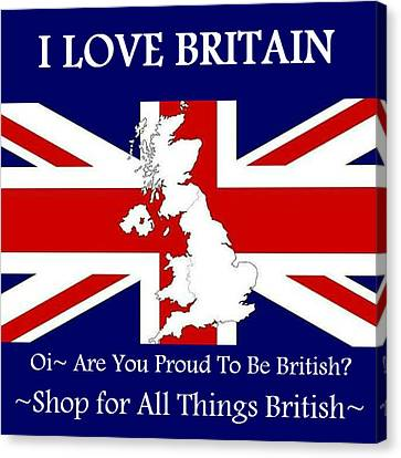 Canvas Print featuring the digital art I Love Britain by Digital Art Cafe