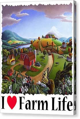 I Love Farm Life - Appalachian Blackberry Patch - Rural Farm Landscape Canvas Print by Walt Curlee