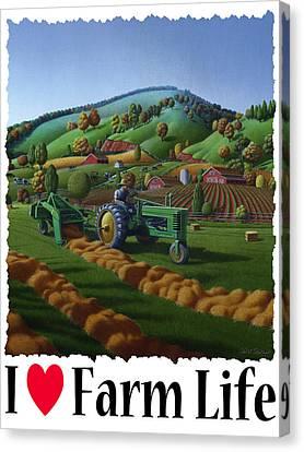 I Love Farm Life - Baling The Hay Field - Rural Farm Landscape Canvas Print