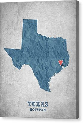 I Love Houston Texas - Blue Canvas Print by Aged Pixel