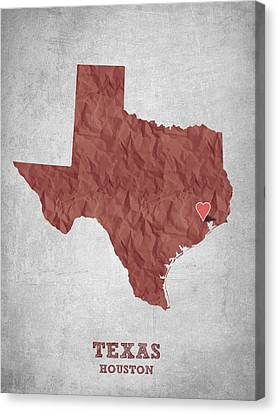 I Love Houston Texas - Red Canvas Print by Aged Pixel
