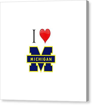 I Love Michigan Canvas Print by Pat Cook