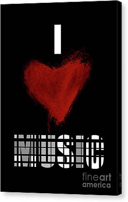 I Love Music 4 Canvas Print by Prar Kulasekara