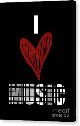 I Love Music 5 Canvas Print by Prar Kulasekara
