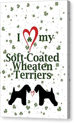 Canvas Print featuring the digital art I Love My Soft Coated Wheaten Terriers by Rebecca Cozart