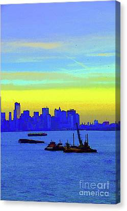 I Love New York Sunset Digital Painting Canvas Print