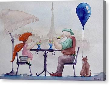 Canvas Print featuring the painting I Love Paris Grandpa by Geni Gorani