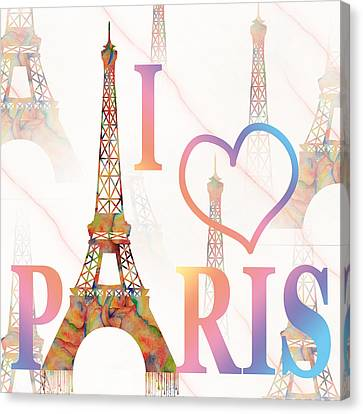 Canvas Print featuring the painting I Love Paris Mixed Media by Georgeta Blanaru