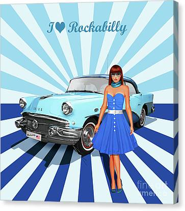 60s Canvas Print - I Love Rockabilly, Variant 2 In Blue by Monika Juengling