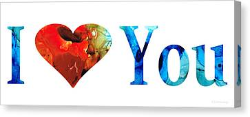 I Love You 10 - Heart Hearts Valentine's Day Romantic Art Canvas Print by Sharon Cummings