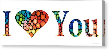 I Love You 14 - Heart Hearts Romantic Art Canvas Print by Sharon Cummings