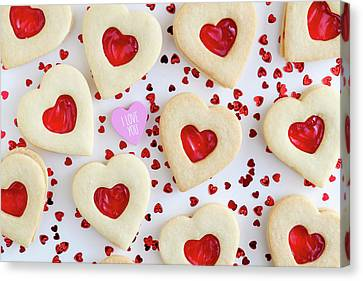 Canvas Print featuring the photograph I Love You Heart Cookies by Teri Virbickis