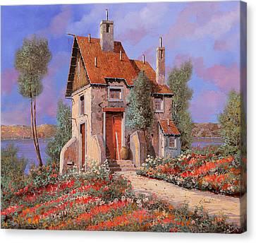 The Houses Canvas Print - I Prati Rossi by Guido Borelli