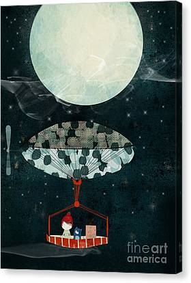 Canvas Print featuring the painting I See The Moon Too by Bri B