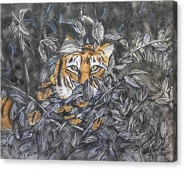 Canvas Print featuring the painting I See You... Orange Tiger by Kelly Mills