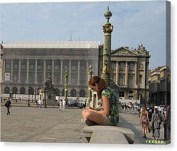 Canvas Print featuring the pyrography I Sit I Read by Yury Bashkin