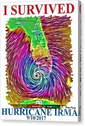 Fort Pierce Canvas Print - I Survived Hurricane Irma by Carey Chen