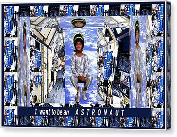 Ambition Canvas Print - I Want To Be An Astronaut  Kids Room Motivation Fineart Graphics by Navin Joshi