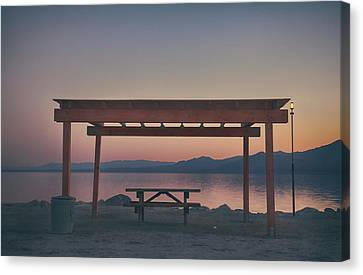 Picnic Table Canvas Print - I Wonder Where You Are Tonight by Laurie Search