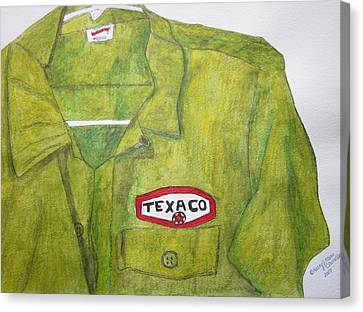 Canvas Print featuring the painting I Worked At Texaco by Kathy Marrs Chandler