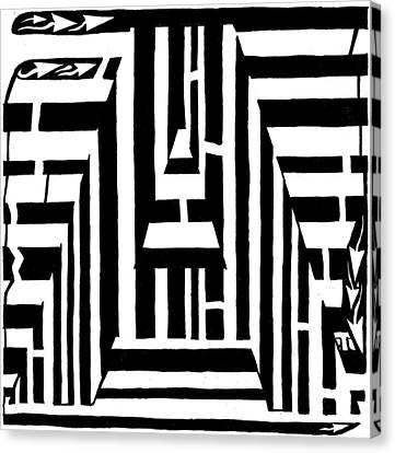 I Would Like To Maze A Vowel Canvas Print by Yonatan Frimer Maze Artist