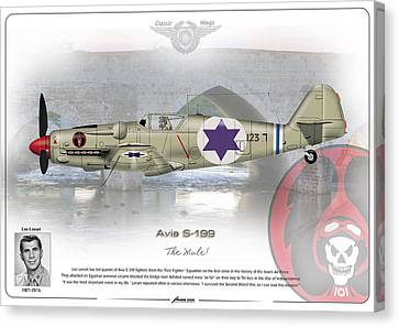 Canvas Print featuring the drawing Iaf Avia S-199 by Amos Dor
