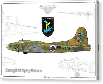 Canvas Print featuring the drawing Iaf B-17 Flying Fortress by Amos Dor
