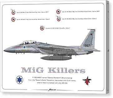 Canvas Print featuring the drawing Iaf F-15d - Mig Killer by Amos Dor
