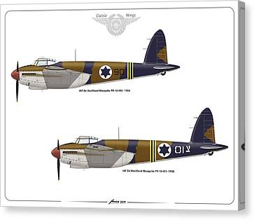 Canvas Print featuring the digital art Iaf Mosquito 1 by Amos Dor