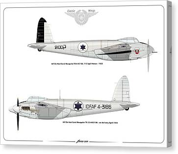 Canvas Print featuring the digital art Iaf Mosquito II by Amos Dor