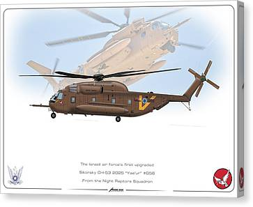 Canvas Print featuring the drawing Iaf Sikorsky Ch 53 2025 by Amos Dor
