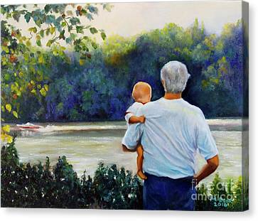 Canvas Print featuring the painting Ian And His Daddy One Sunday Afternoon by Marlene Book
