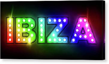 Ibiza In Lights Canvas Print by Michael Tompsett
