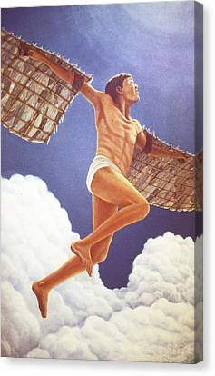 Canvas Print featuring the painting Icarus Ascending by Laurie Stewart