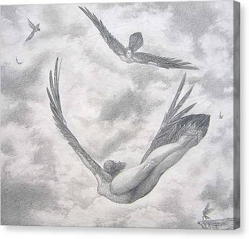 Icarus Suits Canvas Print by Julianna Ziegler