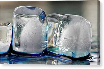 Canvas Print featuring the photograph Ice And Blue by Rico Besserdich