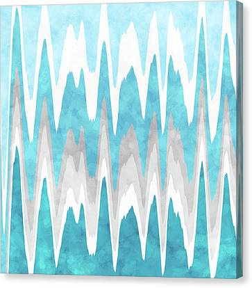 Canvas Print featuring the mixed media Ice Blue Abstract by Christina Rollo