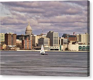 Ice Boat And Capitol - Madison  - Wisconsin Canvas Print by Steven Ralser