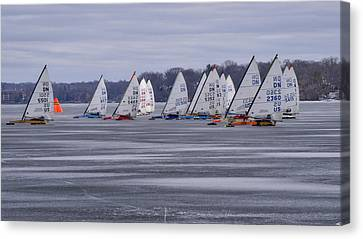 Ice Boat Racing - Madison - Wisconsin Canvas Print by Steven Ralser