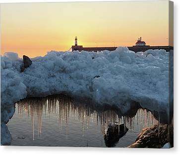 Duluth Canal Park Canal Park Lighthouse Lighthouse Lake Superior Minnesota Canvas Print - Ice Bridge by Alison Gimpel