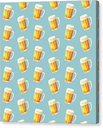 Ice Cold Beer Pattern Canvas Print by Little Bunny Sunshine