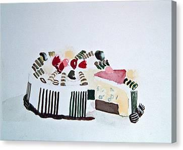 Ice Cream Cake Watercolor Canvas Print