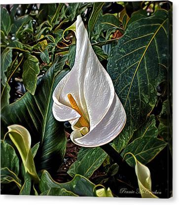 Canvas Print featuring the digital art Ice Cream Calla Lily by Pennie  McCracken