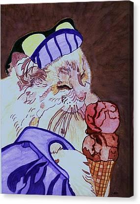 Ice Cream Kitty Canvas Print by Connie Valasco