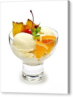 Sorbet Canvas Print - Ice Cream With Fruit by Elena Elisseeva