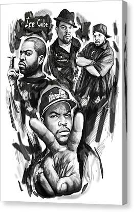 Ice Cube Blackwhite Group Art Drawing Poster Canvas Print by Kim Wang