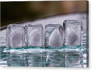 Canvas Print featuring the photograph Ice Cubes In A Line by Rico Besserdich