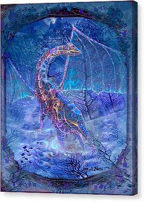 Canvas Print featuring the painting Ice Dragon by Steve Roberts