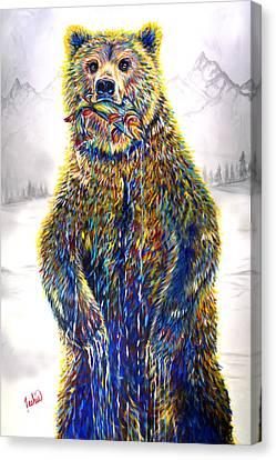 Ice Fishin Canvas Print by Teshia Art
